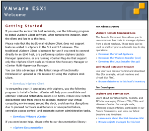 ESXi Welcome Page